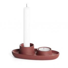 Svietnik vo vínovočervenej farbe EMKO Aye Aye Two Candles