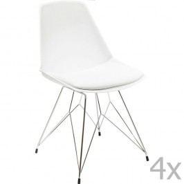 Sada 4 bielych stoličiek Kare Design Wire White