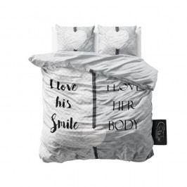 Sivé obliečky z mikroperkálu Sleeptime What Do You Love, 160 x 200 cm