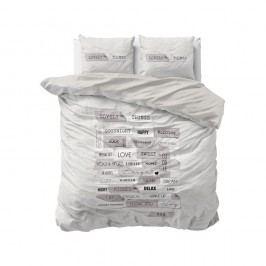 Sivé obliečky z mikroperkálu Sleeptime Lovely Things, 160 x 200 cm