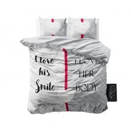 Ružovo-sivé obliečky z mikroperkálu Sleeptime What Do You Love, 160 x 200 cm