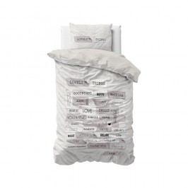 Sivé obliečky z mikroperkálu Sleeptime Lovely Things, 140 x 220 cm