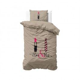 Hnedé obliečky z mikroperkálu Sleeptime Lips and Tie, 140 x 220 cm