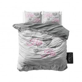 Sivé obliečky z mikroperkálu Sleeptime Her Heart, His Name, 160 x 200 cm