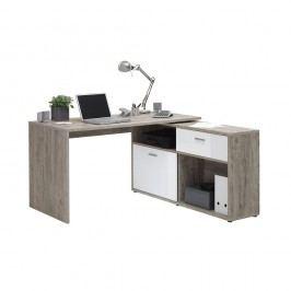 Pracovný stôl v dekore dubového dreva s bielymi detailmi 13Casa Dex