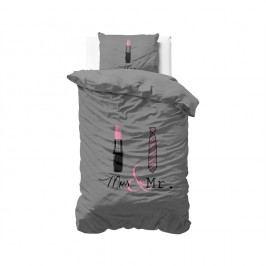 Sivé obliečky z mikroperkálu Sleeptime Lips and Tie, 140 x 220 cm