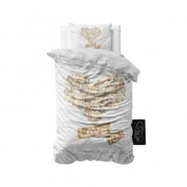 Obliečky z mikroperkálu Sleeptime Wood Love You, 140 x 220 cm