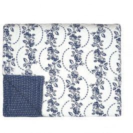 Modro-biely pléd cez posteľ Green Gate Fleur Blue, 140 × 220 cm