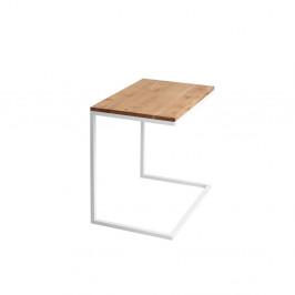 Stôl s bielou podnožou a doskou z masívneho dubu Custom Form Lupe