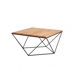 Konferenčný stolík s čiernou podnožou a doskou z masívneho dubu Custom Form Daryl, šírka 80 cm