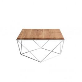 Konferenčný stolík s bielou podnožou a doskou z masívneho duba Custom Form Daryl, šírka 80 cm