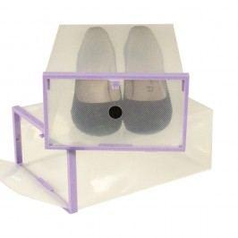 Sada 2 škatúľ na topánky s fialovým lemom Jocca, 28x20,7cm