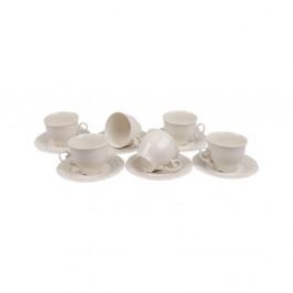 Sada 6 porcelánových hrnčekov s tanierikom Kutahya Elegance, 150 ml