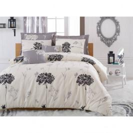 Béžovo-sivé obliečky s plachtou Efil Beige Grey, 200x220cm