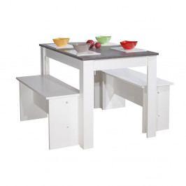 Bielo-sivý jedálenský stôl s 2 lavicami Symbiosis Pearl