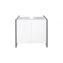 Biela kúpeľňová skrinka so sivým korpusom Symbiosis Auben, výška 59,2cm