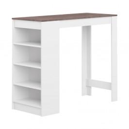 Biely barový stôl s hnedou doskou Symbiosis Auguste