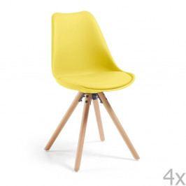 Sada 4 žltých jedálenských stoličiek La Forma Lars