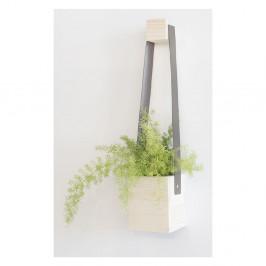 Sivý kvetináč z jedľového dreva Surdic Colgante, 17x62cm