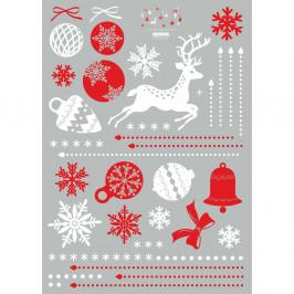 Vianočná samolepka Ambiance Red and White Snowflakes