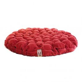 Červený sedací vankúšik s masážnymi loptičkami Linda Vrňáková Bloom, Ø75cm