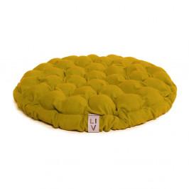 Horčicový sedací vankúšik s masážnymi loptičkami Linda Vrňáková Bloom, Ø 65 cm