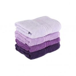 Sada 4 fialových bavlnených osušiek Rainbow, 70 × 140 cm