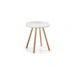 Biely odkladací stolík s drevenou podnožou La Forma Bruk