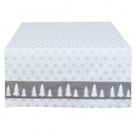 Sivo-biely behúň Clayre & Eef Christmas Time, 50 x 140 cm