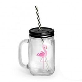Pohár s krytom a slamkou Vialli Design Mia Natura Flamingo, 450 ml