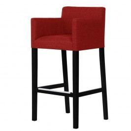 Červená barová stolička s čiernymi nohami Ted Lapidus Maison Sillage