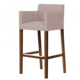 Púdrovoružová barová stolička s tmavohnedými nohami Ted Lapidus Maison Sillage
