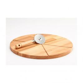 Setdosky z bukového dreva a krájača na pizzu Bisetti,35cm
