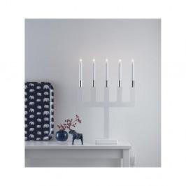 Biely drevený LED svietnik Markslöjd Sundstorp