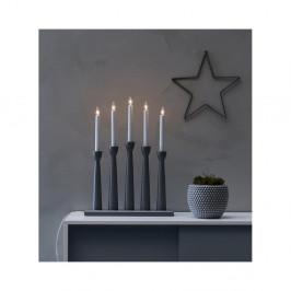 Sivý drevený LED svietnik Markslöjd Maseskar