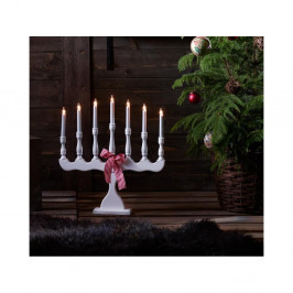 Biely drevený LED svietnik Markslöjd Svaneholm