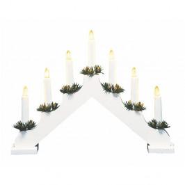 Biely drevený LED svietnik Markslöjd Ola