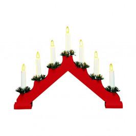 Červený drevený LED svietnik Markslöjd Ola