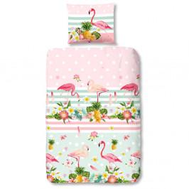 Detské bavlnené obliečky Good Morning Flamingo, 140x200cm