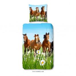 Detské bavlnené obliečky Good Morning Horses, 140 x 200 cm