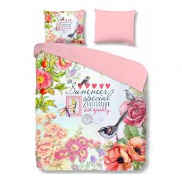 Ružové bavlnené obliečky na dvojlôžko Good Morning Simone, 200 × 200 cm