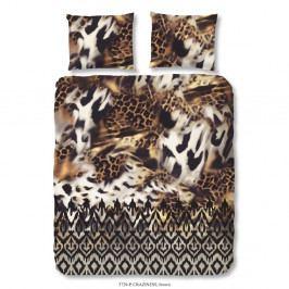Hnedé obliečky na jednolôžko z bavlny Muller Textiels Good Morning Craziness, 140×200 cm