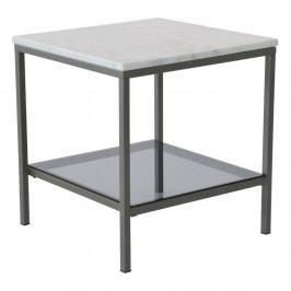 Mramorový konferenčný stolík so sivou konštrukciou RGE Ascot, šírka 50 cm