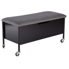 Čierna lavica s úložným priestorom na kolieskach RGE Sture