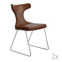 Sada 2 hnedých kožených stoličiek RGE Moon