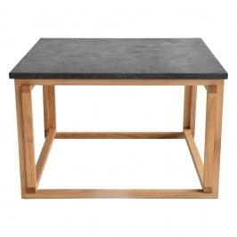 Čierny žulový odkladací stolík s podnožou z dubového dreva RGE Accent, šírka 75 cm