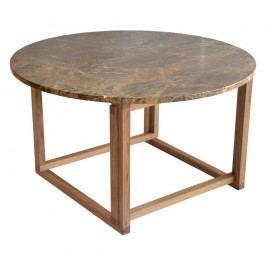 Hnedý mramorový konferenčný stolík s podnožou z dubového dreva RGE Accent, ⌀ 85 cm