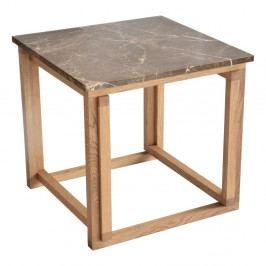 Hnedý mramorový odkladací stolík s podnožou z dubového dreva RGE Accent, šírka 50 cm