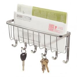 Nástenný vešiak na kľúče s priehradkou na listy InterDesign York Lyra, dĺžka27,5cm
