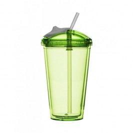 Zelený hrnček so slamkou na smoothie Sagaform